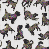 Dog On It Black Silhouettes on White Hot Diggity Gold Metallic Quilting Fabric