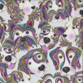 Dog on it Colourful Faces on Light Grey Lets Face it Quilting Fabric