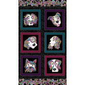 Dogs Squares on Black Dog On It Quilting Fabric Panel