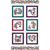 Dogs Squares on White Dog On It Quilting Fabric Panel