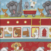 Cute Dogs and Suds Bubbles Border Print quilting Fabric