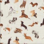 Uptown Dogs Dalmatian Dachshund Pug Corgi on Cream Quilting Fabric