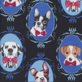 Dogs in Frames on Black Dalmatian Boston Terrier Pet Animal Quilting Fabric