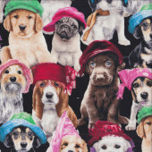 Dogs Puppies with Hats Labrador Pug Basset Hound Quilting Fabric