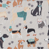 Dog Lover Pug Dachshund Westie on Light Grey Dogs Pet Quilting Fabric