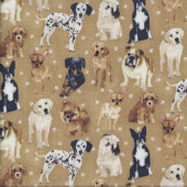 Dogs Labrador Bulldog Dalmatian My Pet Family Quilting Fabric