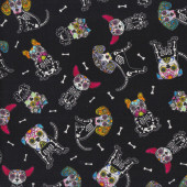 Colourful Dogs Skeletons Bones on Black Quilting Fabric
