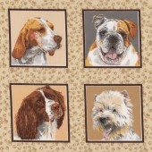 Dogs in Squares Westie Terrier Border Collie Bulldog Quilt Fabric