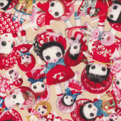 Rag Dolls on Cream Fabric