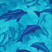 Dolphins on Turquoise Ocean Magic Wildlife Quilting Fabric