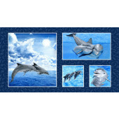 Dolphins Quilting Fabric Book Panel