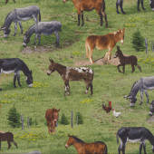 Donkeys on Grass Mules Quilting Fabric