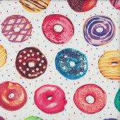 Delicious Iced Doughnuts on White with Stars Donuts Food Quilting Fabric