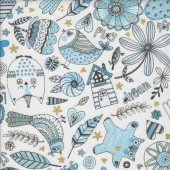 Doodle Pop Blue with Metallic Gold Flowers Owls Birds Quilting Fabric