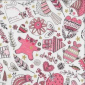 Doodle Pop Pink with Metallic Gold Flowers Owls Birds Quilting Fabric