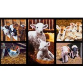 Down on The Farm Lambs Piglets Calves Digitally Printed Quilting Fabric Panel