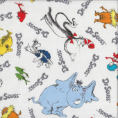 Dr Seuss Cat in the Hat Grinch Horton Lorax on White Licensed Quilt Fabric