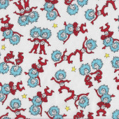 Dr Seuss Thing 1 Thing 2 Yellow Stars Kids Quilting Fabric