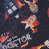 Dr Who on Navy Police Boxes TV Series Sci-Fi Quilting Fabric