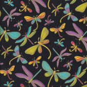 Beautiful Dragonflies on Black Quilting Fabric