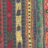 Australian Indigenous Aboriginal Dreaming in One Flame Black by B. Stafford Quilting Fabric