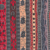 Australian Indigenous Aboriginal Dreaming in One Flame Orange by B. Stafford Quilting Fabric
