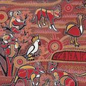 Australian Aboriginal Dreamtime Koala Dingo Emu Quilt Fabric