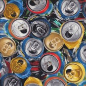 Crushed Drink Cans Fizzy Soft Drink Quilt Fabric