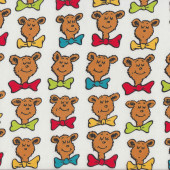 Dr Seuss Bar Ba Loot Bears on White Kids Boys Girls Quilting Fabric