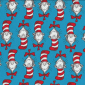 Dr Seuss Cat in Hat Red and White Stripe Hat Kids Quilt Fabric