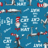 Dr Seuss The Cat in The Hat on Blue Kids Boys Quilt Fabric