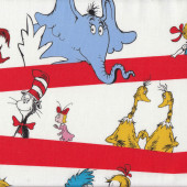 Dr Seuss Cat in Hat Horton the Elephant Kids Red Stripe Quilt Fabric