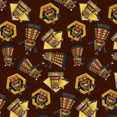 Dr Who Daleks on Brown Exterminate TV Series Licensed Quilt Fabric