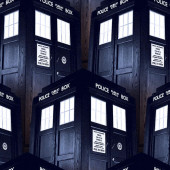 Dr Who Tardis Navy Police Boxes TV Series Licensed Quilt Fabric