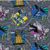Dr Who Madman on Grey TV Series Licensed Quilt Fabric