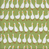 White Ducks on Green Geese Farm Animal Quilting Fabric