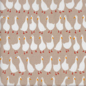 White Ducks on Light Brown Geese Farm Animal Quilting Fabric