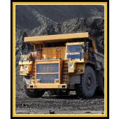 Dump Truck Mining Heavy Machinery Quilt Fabric Panel