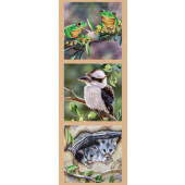 Australian Animals Frogs Kookaburra Possums Wildlife Quilting Fabric Panel