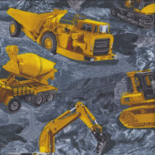 Earthmoving Machinery Construction Vehicles on Grey Rock Quilting Fabric
