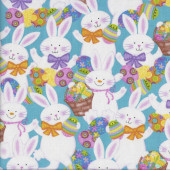 Easter Bunny Eggs Quilting Fabric