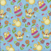 Chickens on Blue Spring Has Sprung Easter quilting Fabric