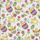 Chickens on White Spring Has Sprung Easter quilting Fabric