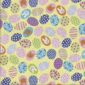 Colourful Easter Eggs on Yellow Bunny Rabbits Kids Quilting Fabric