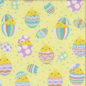Easter Eggs Baby Chicks on Lemon Yellow Quilting Fabric