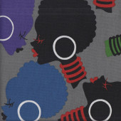 African Queen Colourful Ladies Faces on Grey Electra LARGE PRINT Quilting Fabric