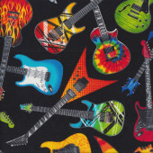 Electric Guitars on Black Quilting Fabric