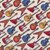 Electric Guitars on Cream Jazz Rock n Roll Music Quilting Fabric