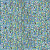 Elephants on Parade Scallop Blue Green Quilting Fabric