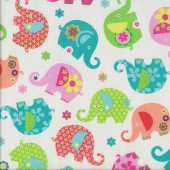 Floral Elephants on White Quilting Fabric